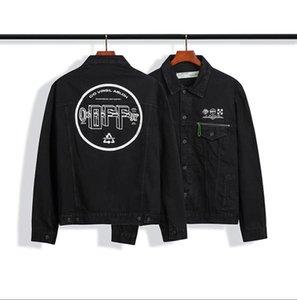 High quality correct version 20SS OFF basic letters WHITE OW washed washed old denim jacket jacket