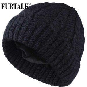 Lana FURTALK Mens Beanie Sombreros de invierno Hombres Mujeres terciopelo de punto Beanie sombrero Skullies caliente suave masculino del sombrero del invierno del casquillo Gris Negro