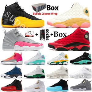 scarpe Jumpman Università Oro Hot Punch CNY Flint 12 12s di pallacanestro del Mens del gatto nero 13 13s Chicago Bred Sneakers Taxi DMP Uomini Sport Designer