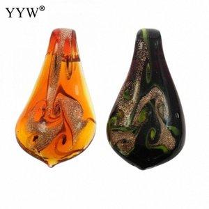 12pcs / Boîte Goutte d'eau fleur en verre Lampwork Pendentif bricolage Bijoux en or de sable de verre au chalumeau Pendentif Collier pour 2020 Nouvelle Arrivée vJ6Q #