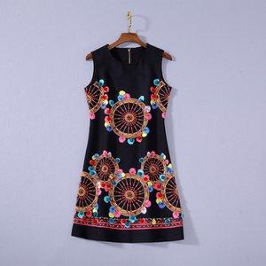 2020 Verano de lujo más nuevo sin mangas redondo cuello algodón de la impresión con cuentas Negro Mini vestido corto de pista vestidos JL082327