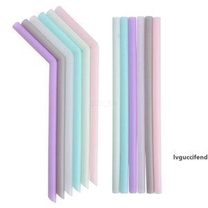 Silicone Drinking Straw Candy color Reusable Silicone straw Folded Bent Straight Straw Home Bar Accessory silicone tube Tool LJJA2595