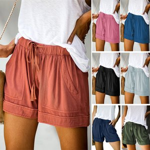 Summer Woman Shorts Solid Sashes Draped Shorts Casual Beach Floral Leopard Female Cotton Polyster Multicolor For Choice