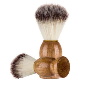 11x3.5cm مخصص LOGO اللحية فرشاة حلاقة اللحية الشفرة حلاق فرشاة مقبض خشبي النايلون الشعر الخشن الرجال الوجه تنظيف فرش