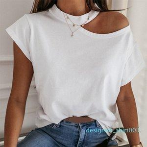 Girls Tshirt Off Shoulder Short Sleeve White Solid Black Ladies Tshirts Halter 2020 Summer Fashion Casual T Shirts Tops Women d03