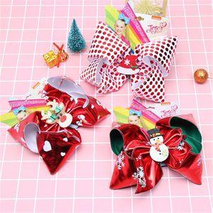 7 Inch JOJO Bow Christmas snowman deer Hairpin Baby Girls stripe Dot Barrettes Kids Boutique Hair Clip Xmas Children Hair Accessories HN482