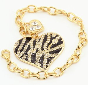 Ins fashion luxury designer lovely Chain diamond zebra leopard animal pattern heart charm Bracelets for women girls