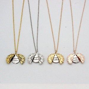 Подсолнечное ожерелье Валентайн подарка Золотой Медальон можно открыть ожерелье Вы My Sunshine Гравировка ключицы цепи для женщин Подарочные A03
