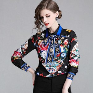 Bow Vintage Chiffon Printed Shirts Top Women Blusa Feminina Casual Flower Floral Blouses OL Work Wear Business Shirt