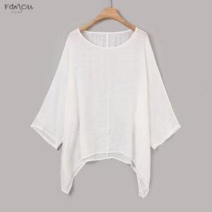 Plus Size Summer Womens Irregular T Linen Shirts Casaul Solid Long Sleeve Tshirt Woman Ladies Tops Womens Korean Fashion Clothing