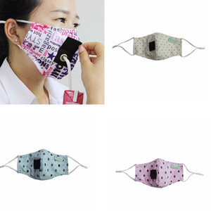 Children straw masks designer face masks can drink water printed cotton mask printed bear washed outdoor facial mouth cover masks