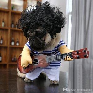 Köpekler Gitar Komik Giyim Cadılar Bayramı Cosplay Kaya Kıyafet Noel Partisi Yenilik Pet Köpek Kedi Gitarist Giyim Ücretsiz Kargo oyna