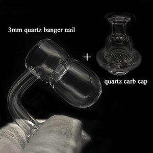 Amshop420 Beveled Edge Quartz Bange Nail With Quartz Carb Cap 10mm 14mm 18mm Male Female Joint ForWax Dab Rigs Glass Water Bongs