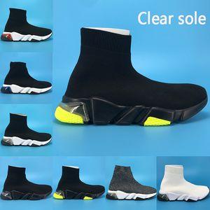 formateur de vitesse semelle transparente Paris chaussures chaussettes sport nouveau jaune fluo bordeaux Oreo triple bout droit noir blanc tricot femmes sneakers hommes formateurs