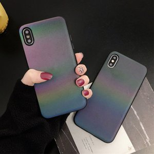 Gradient Rainbow Laser Phone Case For iPhone XR XS Max X 6 6S Plus Glitter Matte Hard PC Reflective Cover For iPhone XR 7 8 Plus