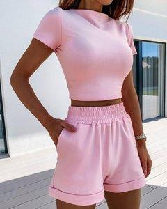 2020 Summer Womens Set Fashion High Neck Short Sleeve Slim Crop Top Shorts Loose Solid Color Set Gym Sport Suit Shein Plus Size