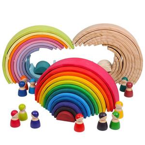 Bébé Jouets Grand arc-en-Stacker Jouets en bois pour les enfants Creative Building Blocks arc Montessori jouet éducatif pour enfants