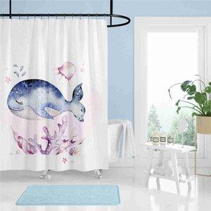 Su geçirmez Yüksek Kaliteli Dayanıklı Polyester Kumaş Küvet Perdeler Basit Boyama Baskı Banyo Dekor Perde Mavi Balina Duş