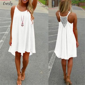 Sexy Womens Summer Casual Crew Neck Sleeveless Evening Party Backless Beachwear Mini Dress Multiple Colors Female Fashion Loose
