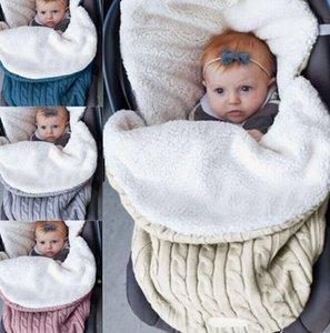 Baby Swaddle Kuscheldecke Neugeborenes Schlafsack warm Strick Fleece Kinderwagen Sack Häkelarbeit-Winter-warmen Schlafsack KKA7985