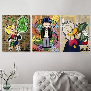 Alec Monopoly Richie Scrooge Dollars Graffiti Canvas Oil Painting Posters Prints Street Art Wall Pictures for Living Room Home Decor