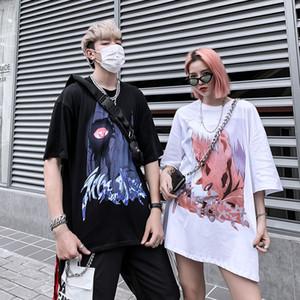 Camiseta de manga corta de algodón de gran tamaño Naruto personaje de dibujos animados de impresión High Street Unisex Camiseta tapa de la manera de la calle de vestuario