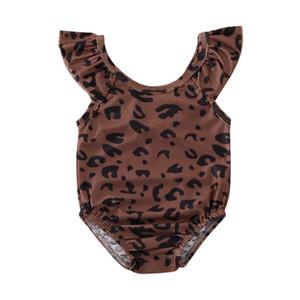 Toddler Kid Baby Girls Swimsuit Off-Shoulder Leopard Print Ruffle One Piece Swimwear Beach Beachwear Costume Bathing Suit 12M-5T