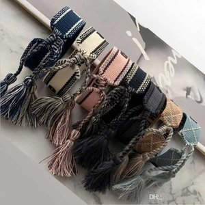 Новый стиль регулируемый CD бренда хлопчатобумажная Браслеты Lovers Браслет Вышивка кисточкой для женщин мужчины Rope Braceletbangle дружба ювелирные изделия