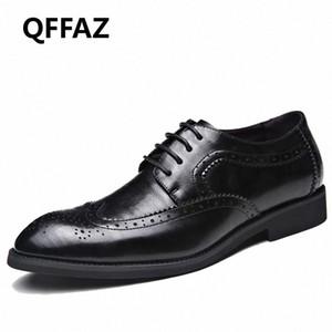 QFFAZ العلامة التجارية أحذية الرجال عالية الجودة أشار تو اللباس أحذية رجالية ذكر ملابس رسمية Zapatos هومبر أوكسفورد زائد الحجم 38 48 قارب أحذية S 7aU8 #