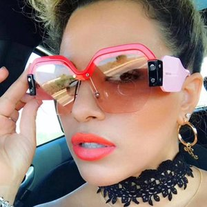 Uv400 Oversized Semi-rimeless Square Sunglasses Women Brand Lunettes De Soleil Pour Femmes Retro Sun Glasses For Women