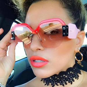 UV400 Крупногабаритные Semi-rimeless Квадратные Солнцезащитные очки Женщины Марка Lunettes De Soleil Налейте Femmes ретро солнцезащитные очки для женщин