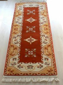 Turkish, Milas Handmade Orange Runner Rug VkdN#