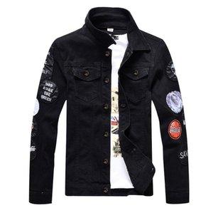 Luxus Einzigartige Mens Designer Stickerei Jeansjacken zerrissene Art und Weise Slim Fit Streetmotorradfahrer Epaulet Jeans Jacke Cowboy-Mantel