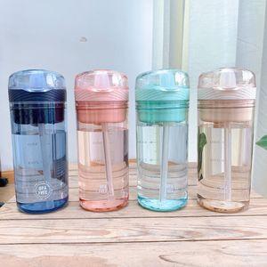 300мл Пластиковые бутылки воды Student Портативной воды Drinkware с бутылками соломки Детей BPA Free Sport Water