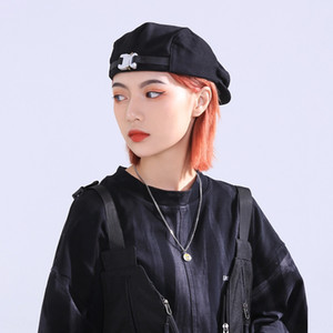 ins Japanese designer Korean style street fashion brand metal buckle female front cap beret beret outdoor cap