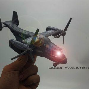 MLQ 다이 캐스트 합금 보잉 벨 V-22 오스 운송 항공기 모델 장난감 소리 조명, 풀 백, 장식 크리스마스 아이 보이 선물, 757-5, 2-2