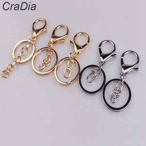 100pcs set 30mm 12designs Key Chains Key Rings Round golden silver color Lobster Clasp Keychain T200804