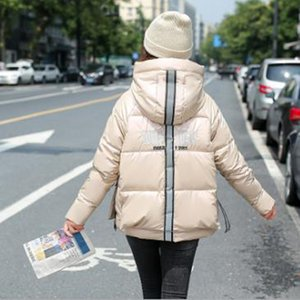 Wholesale short women's shiny new down cotton coat loose thick back embroidered padded jacket