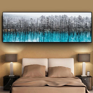 Nordic Snow Forest Landscape Oil Painting on Canvas Posters and Prints Abstract Wall Art Picture for Living Room Scandinavian Home Decor
