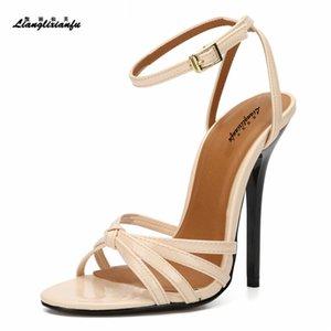 LLXF Unisex SM Stilettos Yaz Nightclub 14cm ince yüksek topuklu ayakkabılar kadın düğün çapraz kayış Bayanlar nedime sandalet pompaları