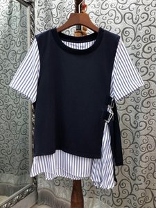 2020 Spring and Summer New Women's round Neck Color Matching Stitching Fake Two Striped Short-Sleeved All-Match Top 709