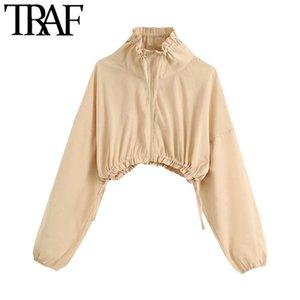 Tops TRAF manera de las mujeres con cordones recortada chaqueta de la capa alta de la vendimia cuello de manga larga Mujer Prendas elegantes