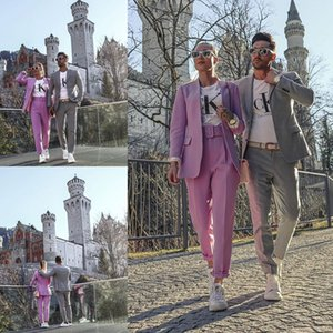 Handsome Gray Mens Suits for Wedding Tuxedos Slim Fit Leisure Groom Wear Notched Lapel Groomsmen Outfit Best Man Blazers Suit(Jacket+Pants)