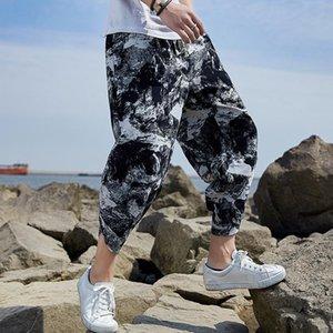 Hommes d'été Linen sarouel Hip Hop Femmes Taille Plus Wide Leg coton Pantalons Pantalons simple Vintage coton