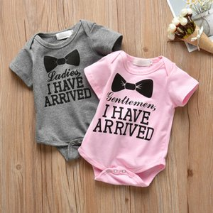 Infant Toddler Baby Boys Girls Romper Letter Gray and Pink Short Sleeve Jumpsuit Newborn Clothes