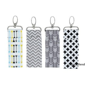 Printed Lipstick holder Chapstick Holder Keychain Pouch Bag Lip Palm Floral Leopard Stripe Keyring Storage Bag For Girls Gifts CFYZ338