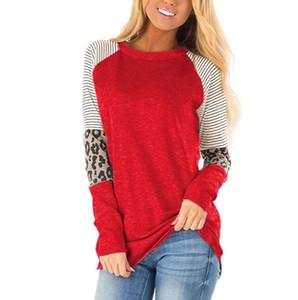 Allentato casuale di Patcwork T shirt maniche lunghe Donne lungo T-shirt O-Collo cotone camicia della parte superiore Plus Size Female Clothings Tees