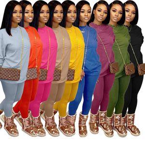 Plus la taille des femmes Survêtement couleur unie tenues casual 2 ensembles de pièces chemise à manches longues + leggings automne witer sport vêtements jogger costume 3606