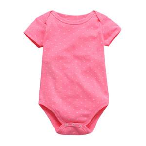 Tender bebê bebês cor bodysuit impressão do bebé menina de manga curta roupas terno verão