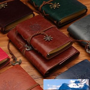 Vintage Diário de Viagem Notebook Kraft Papers Jornal Notebook PU Leather espiral pirata Notepad Estudar livros clássicos de papelaria presente